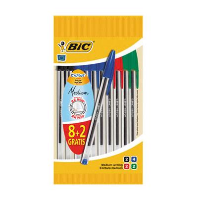 Bolígraf Bic Cristal 8+2 unitats